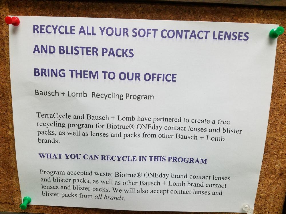 Recycle all your soft contact lenses sign